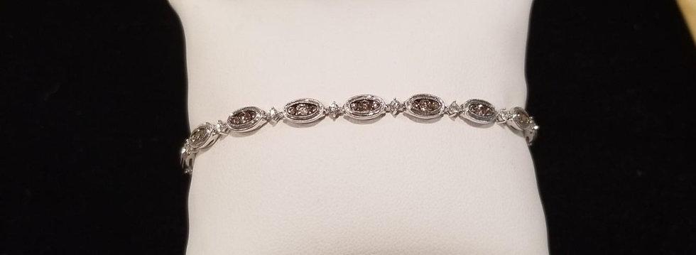 14kt White Gold Chocolate Tennis Bracelet