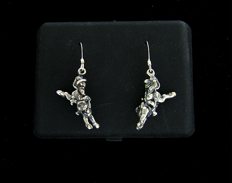 Sterling Silver Bull Rider Hanging Earrings