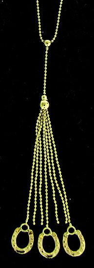 14kt Yellow Gold Triple HorseshoeTassel Necklace