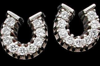 14kt White Gold Diamond Horse Shoe Post Earrings