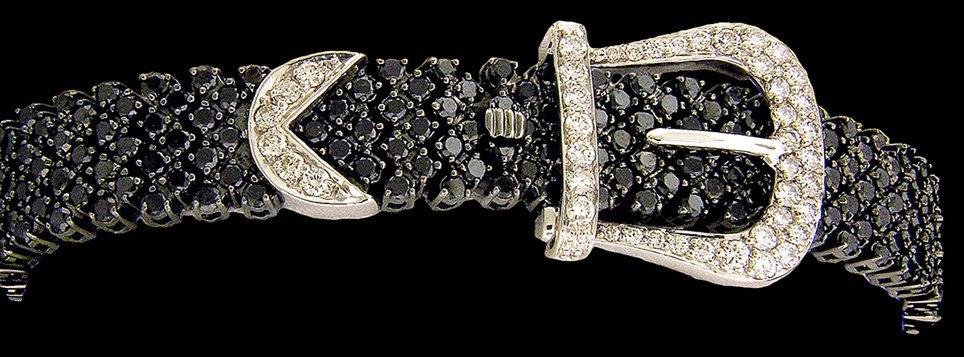 14kt Black Diamond Buckle Bracelet