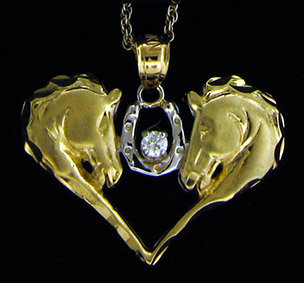 14kt Yellow Gold Diamond Horse Head Pendant