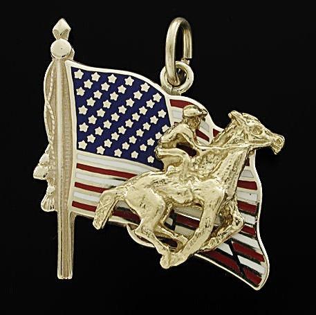Gold Thoroughbred American Flag Charm