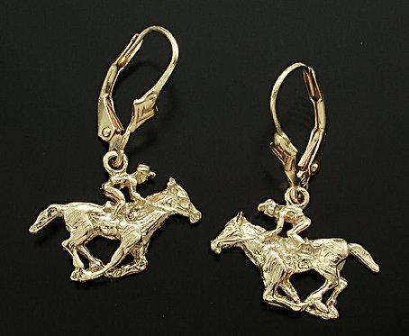 Gold Thoroughbred Dangle Earrings
