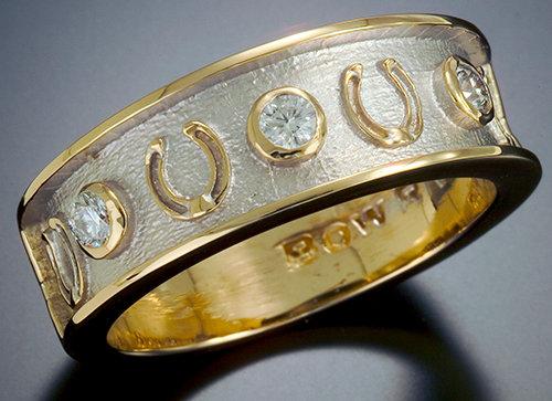 Men's Horse Shoe Diamond Band Ring