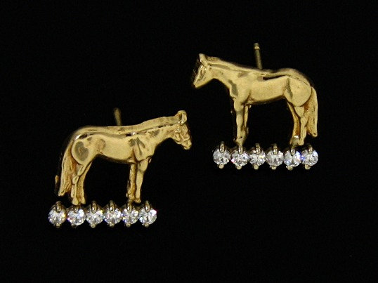 Standing Horse Post Earrings with Diamond Track