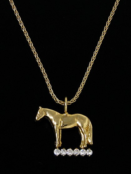 Standing Horse Pendant with Diamond Track