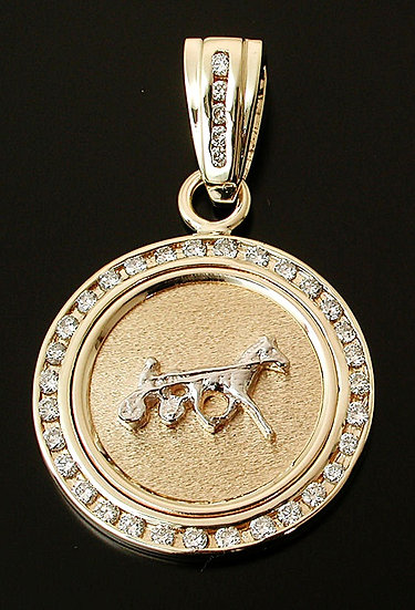 Standardbred Gold and Diamond Coin Pendant