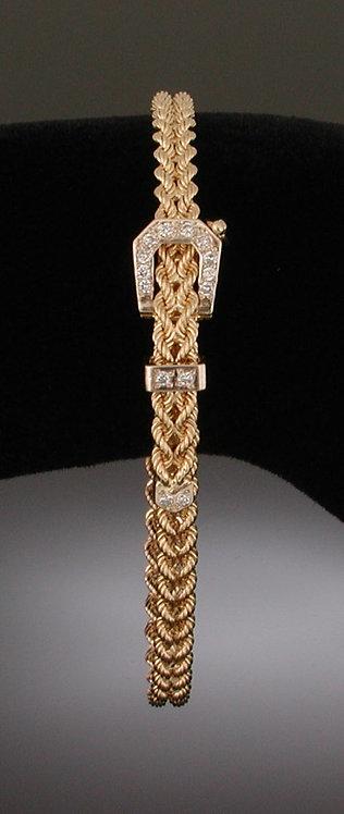 Small Diamond Gold Belt Bracelet
