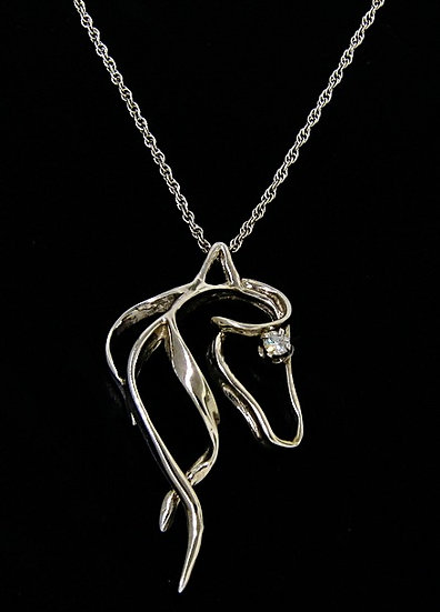 Horse Head Necklace with Diamond Eye