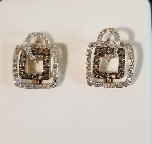 14kt White Gold Chocolate Post Earrings