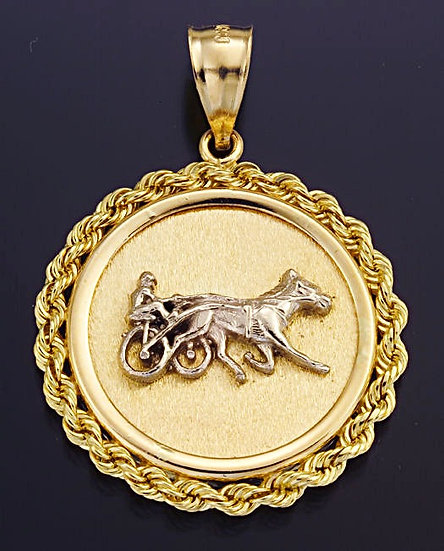 Standardbred Two Tone Gold Coin Pendant