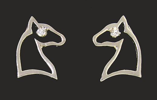 14kt White Gold Post Horse Head Earring