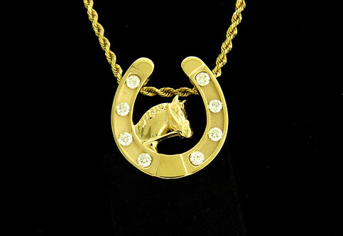 14kt Yellow Gold Horseshoe Diamond Pendant