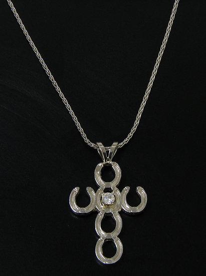 14kt White Gold Horse Shoe Diamond Cross Pendant