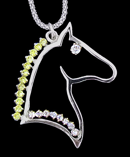 14kt White Gold Diamond Horse Head Pendant