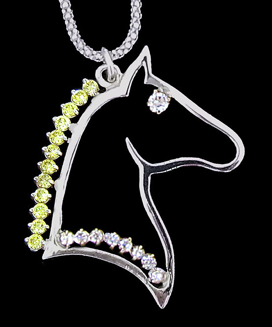 14kt White Gold Diamond Horse Head Pendant
