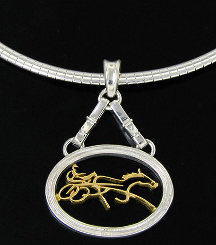 Two Tone Standardbred Slide on a Omega Necklace