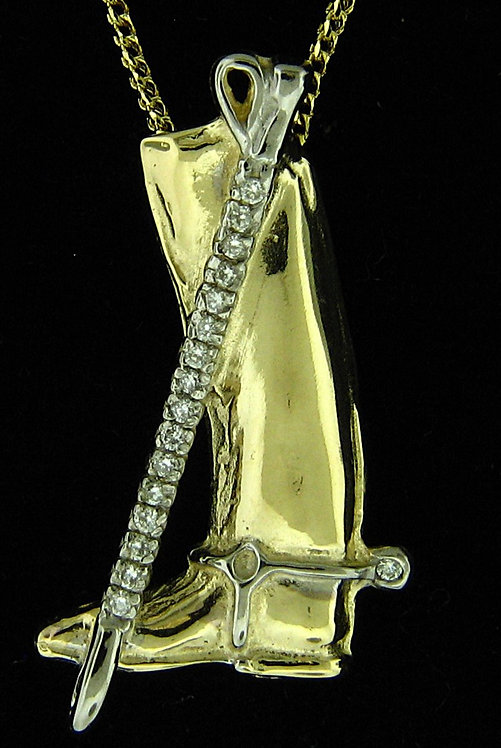 14kt Yellow Gold Riding Boot Pendant With Diamond Croupe Pendant