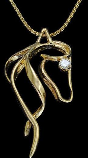 14kt Yellow Gold Diamond Horse Head Pendant
