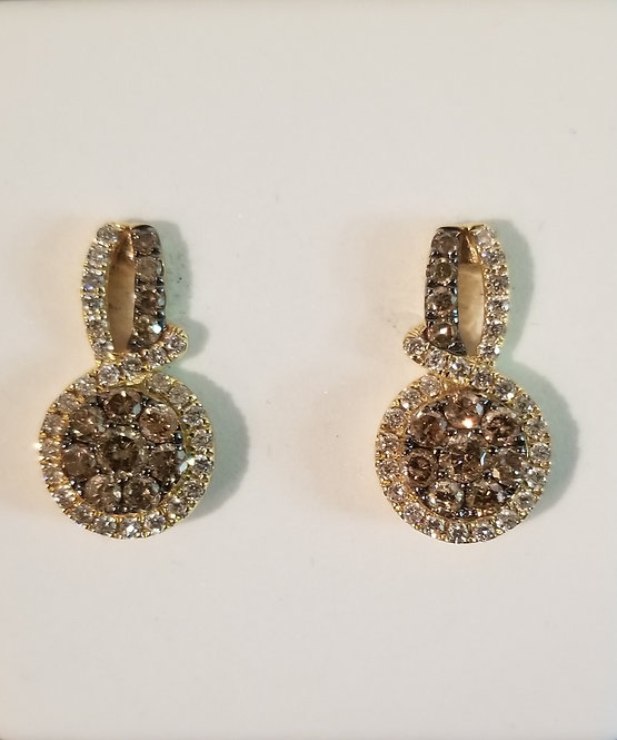 14kt Yellow Gold Chocolate Earring