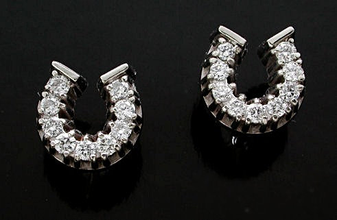 Diamond Horse Shoe Post Earrings
