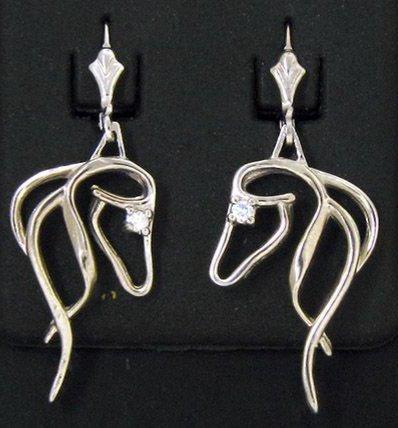 14kt White Gold Horse Head Dangle Earrings