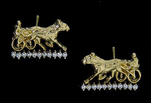 14kt Yellow Gold Diamond Sulky Post Earrings