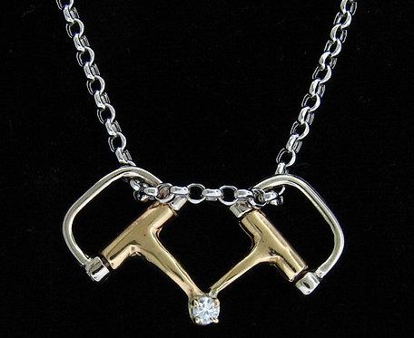 14kt Yellow & White Gold D Snaffle Diamond Pendant