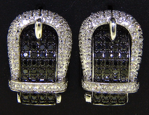 White & Black Diamond Buckle Earrings