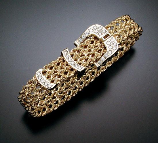 Thick Gold and Diamond Belt Bracelet