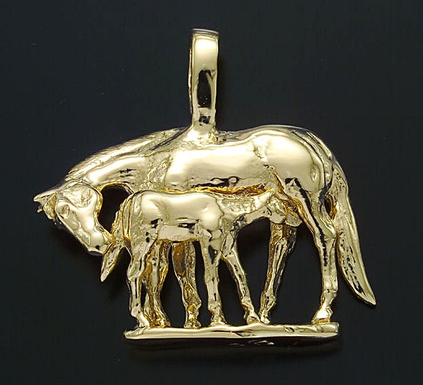 Mother and Foal Horse Pendant