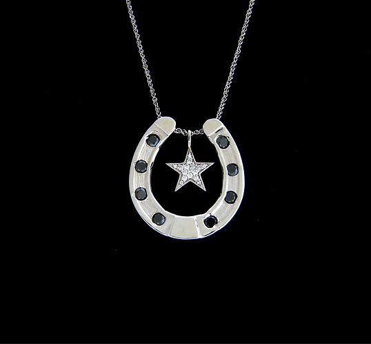 Sterling Silver Horseshoe Set With Black Diamonds
