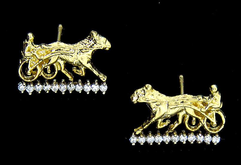 14kt Yellow Gold & Diamond Sulky Post Earrings