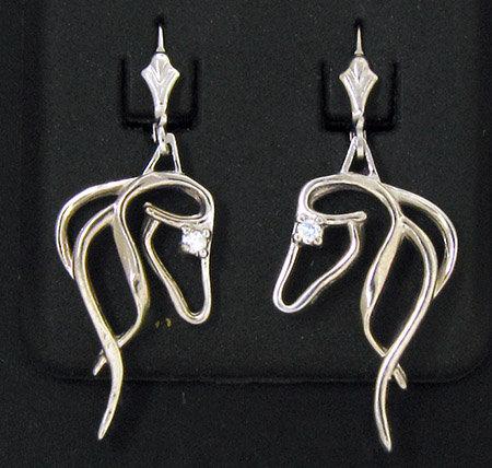 Sterling Silver Horse Head Dangle Earrings