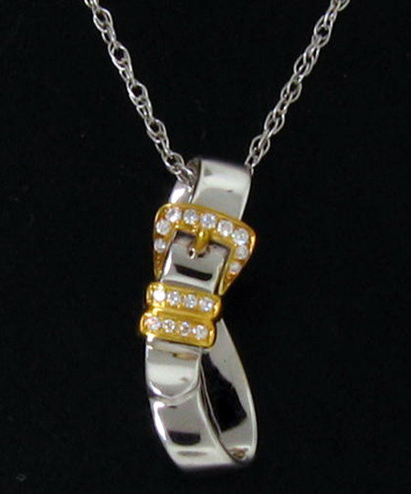 14kt White Gold Buckle Pendant