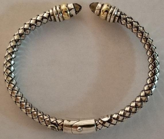 18ktYelow Gold & Sterling Silver Bangle Bracelet