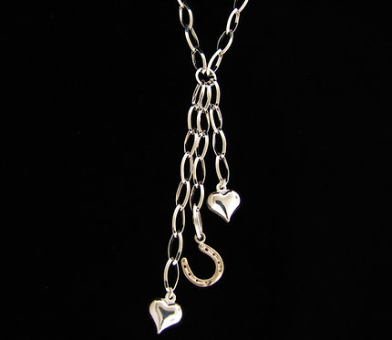 Sterling Silver Heart 14kt Horse Shoe Necklace