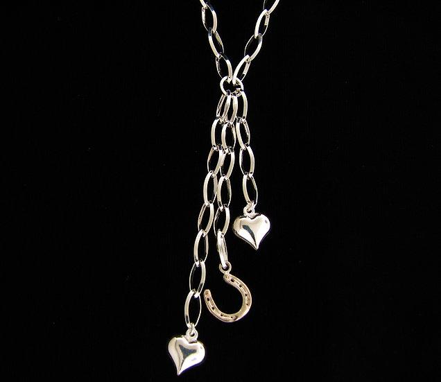 Sterling Silver Heart 14kt Horse Shoe Necklace
