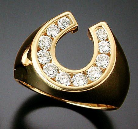Yellow Gold Diamond Horse Shoe Ring