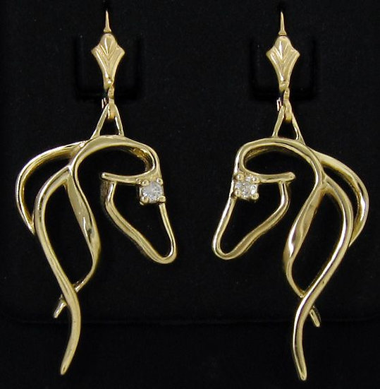 14kt Yellow Gold Horse Head Dangle Earrings