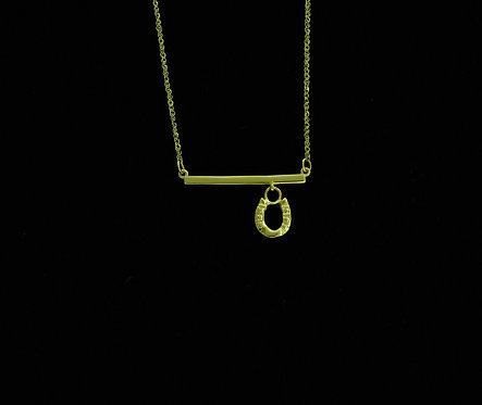 14kt Yellow Gold Horseshoe Bar Necklace