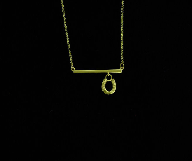 14kt Yellow Gold Horseshoe Bar Necklace