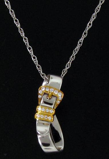 14kt White Gold Diamond Buckle Pendant