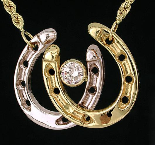 14kt Two Tone Gold Horseshoe Necklace
