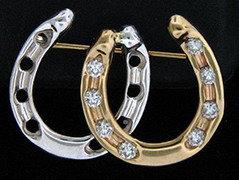 14kt Gold Two Tone Diamond Horseshoe Brooch