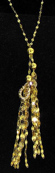 14kt Yellow Gold Tassel Horseshoe Necklace
