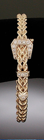 Large Diamond Gold Belt Bracelet