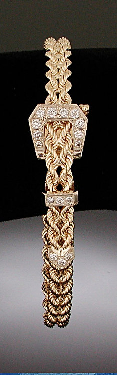 Large Diamond Gold Belt Bracelet