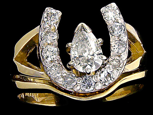 14kt Yellow Gold Horseshoe Engagement Ring Set With A Pear Solitaire Diamond